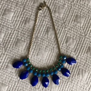 J Crew gold and blue/green necklace